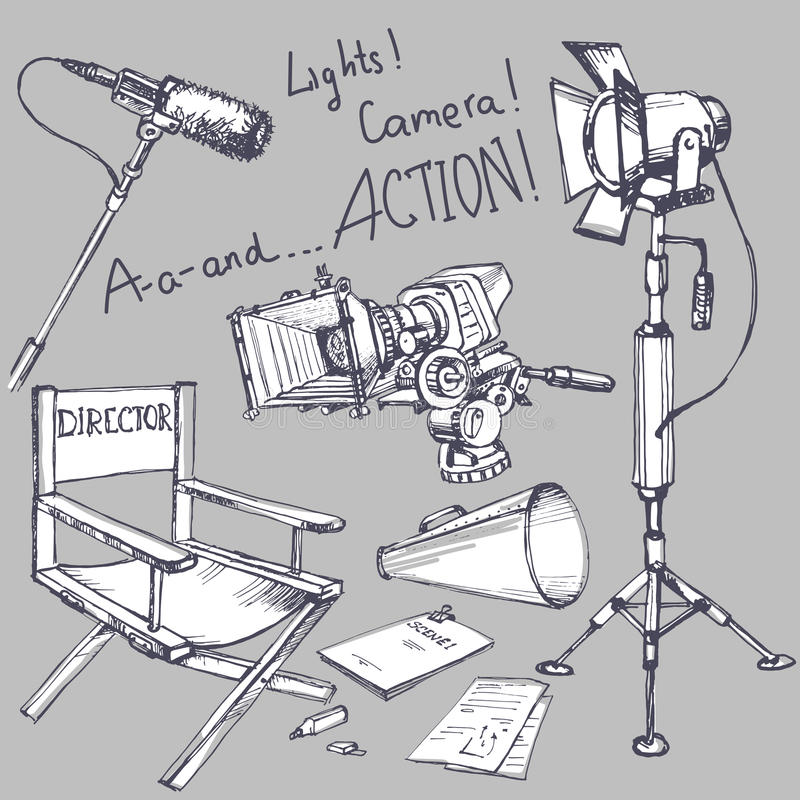 Uppsättningen av filmen gör objekt vektor illustrationer