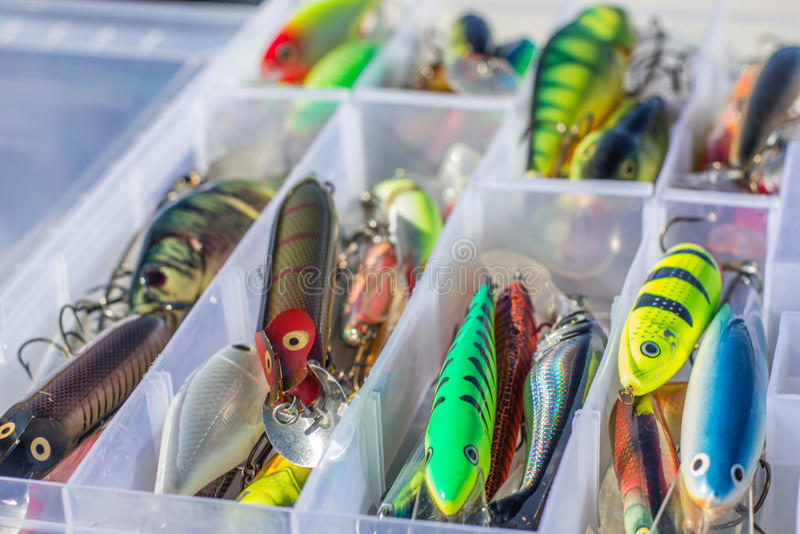 Uppsättningen av fiske lockar royaltyfri bild