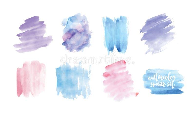 Uppsättningen av fläckar eller suddhanden målade med vattenfärgen som isolerades på vit bakgrund Samling av uttrycksfull målarfär vektor illustrationer