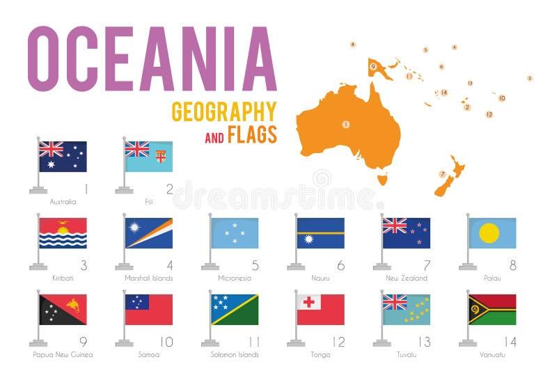Uppsättningen av 14 flaggor av Oceanien isolerade på den vita bakgrund och översikten av Oceanien royaltyfri illustrationer