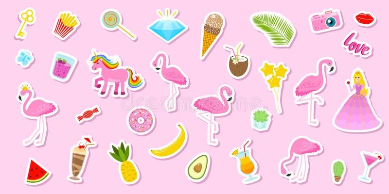 Uppsättningen av flickor danar gulliga lappar, roliga klistermärkear, emblem, ben och klistermärkear Olika beståndsdelar för saml stock illustrationer