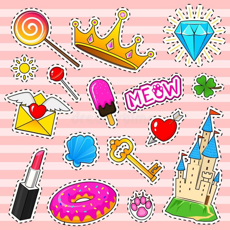 Uppsättningen av flickor danar gulliga lappar, roliga klistermärkear, emblem och ben Olika beståndsdelar för samling diamanten ja royaltyfri illustrationer