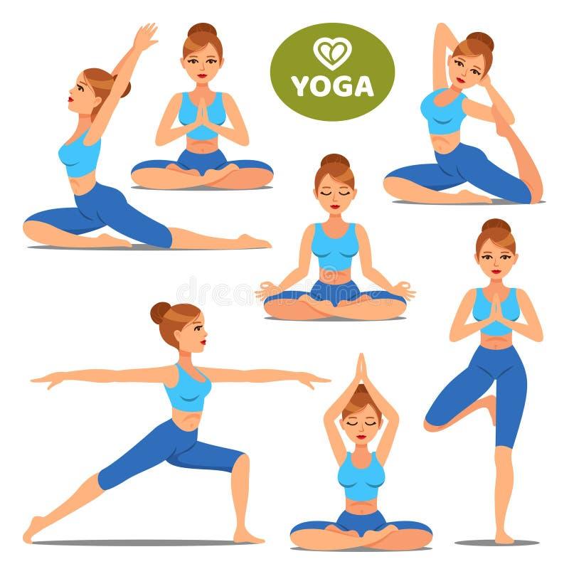 Uppsättningen av flickor i olikt poserar av yoga Kvinnayoga poserar utbildning stock illustrationer