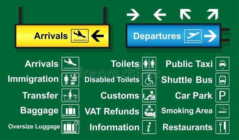 Uppsättningen av flygplatsen undertecknar med logo och riktningen som används ofta runt om flygplatsterminalen vektor illustrationer