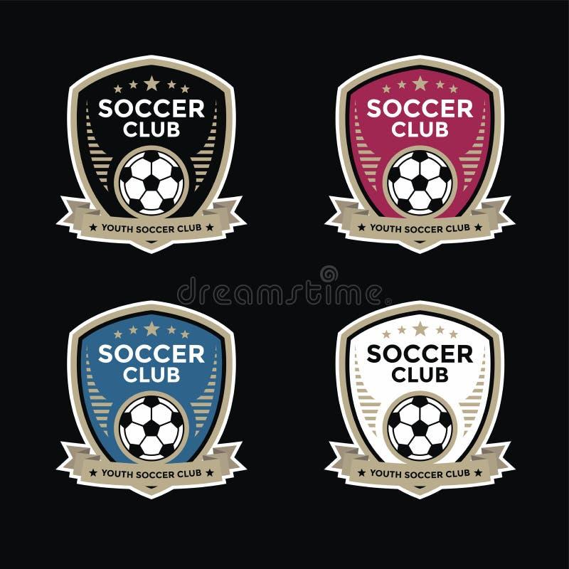 Uppsättningen av fotbollfotbollvapen och logoemblemet planlägger vektor illustrationer