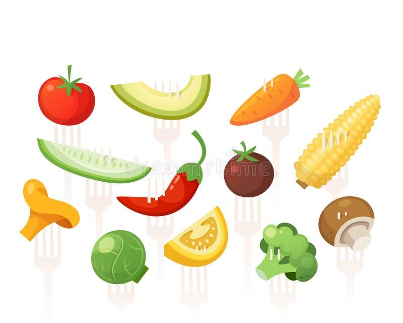 Uppsättningen av fulla grönsaker för sunt vitamin sörjde på gafflar royaltyfri illustrationer