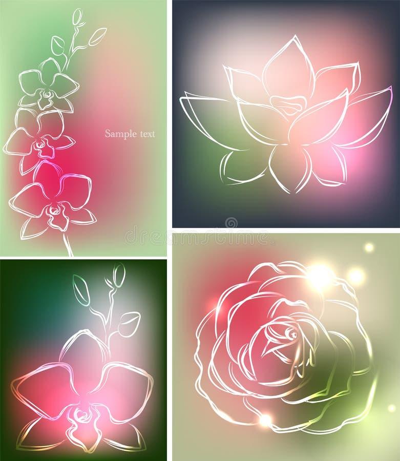 Uppsättningen av fyra bakgrunder eller hälsningkort med orkidén, lotusblomma och steg i härliga färger stock illustrationer