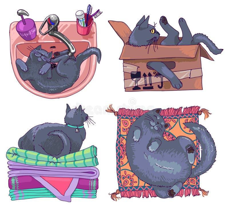 Uppsättningen av fyra blåa katter för ryss som har, vilar royaltyfri illustrationer