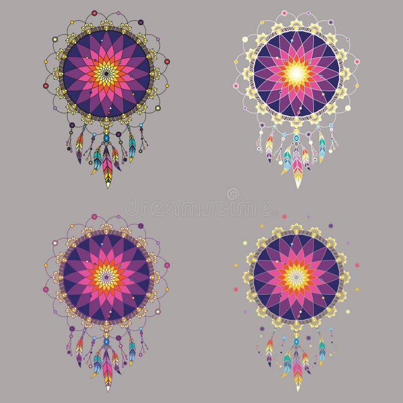 Uppsättningen av fyra färgrika dreamcatchers i regnbåge tonar vektor illustrationer