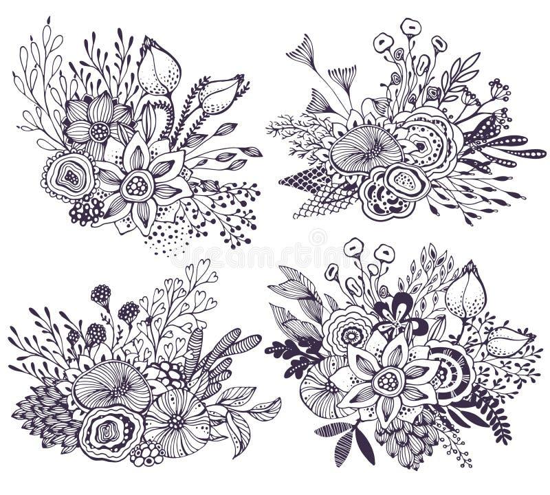 Uppsättningen av fyra härliga fantasibuketter med den drog handen blommar, växter, filialer stock illustrationer