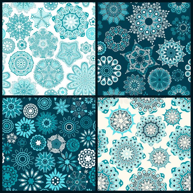 Uppsättningen av fyra ornated blom- sömlös textur, ändlös modellintelligens royaltyfri illustrationer