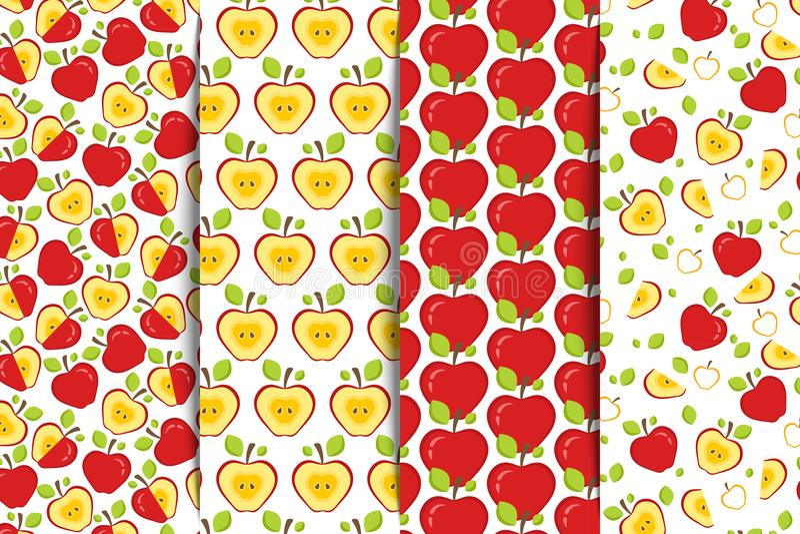 Uppsättningen av fyra sömlösa modeller med rött helt och halva skivade äpplen på en vit bakgrund Fruktbakgrund för tryck royaltyfri illustrationer
