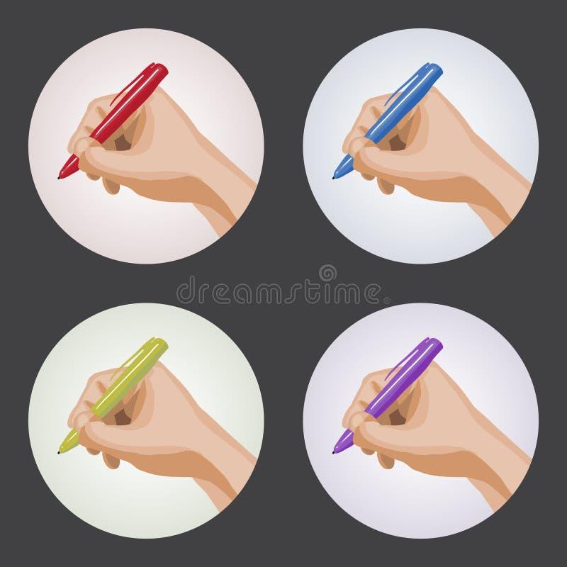 Uppsättningen av gömma i handflatan med pennor stock illustrationer