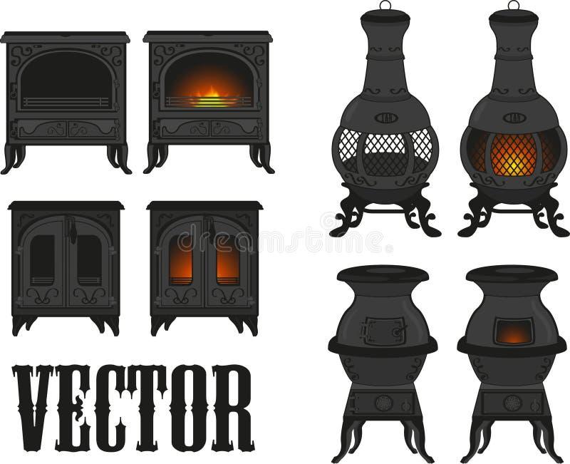 Uppsättningen av gammalt) gjutjärn för tappning (täcker med realis stock illustrationer