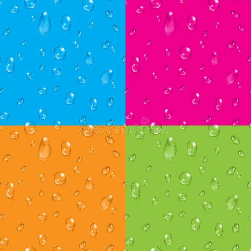 Uppsättningen av genomskinligt vatten tappar sömlösa bakgrunder för vektor royaltyfri illustrationer