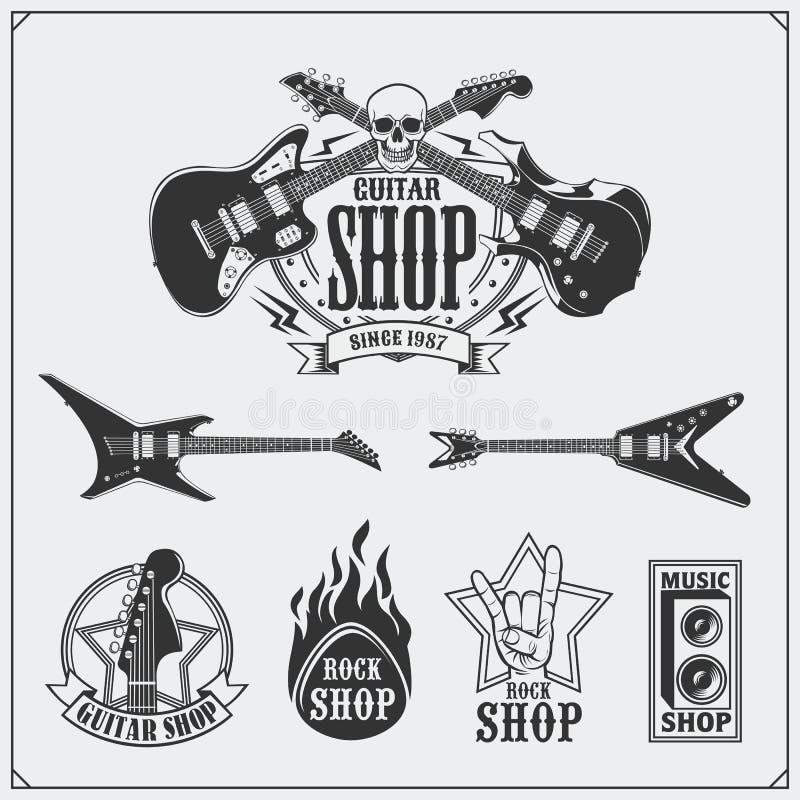Uppsättningen av gitarren shoppar etiketter, emblem, emblem och musiksymboler royaltyfri illustrationer