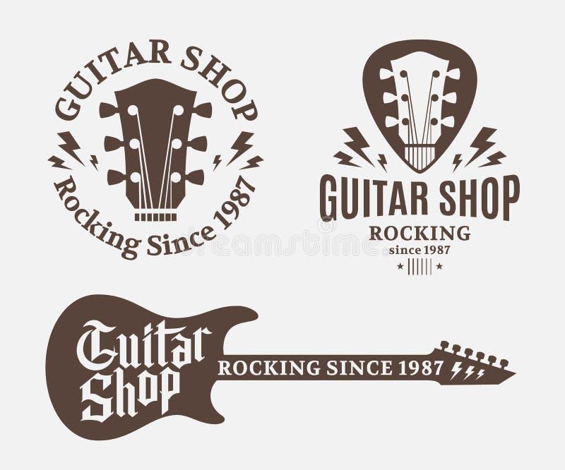 Uppsättningen av gitarren shoppar logo vektor illustrationer