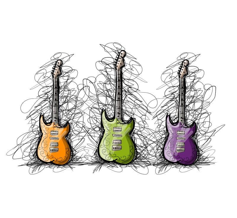 Uppsättningen av gitarrer, skissar för din design vektor illustrationer
