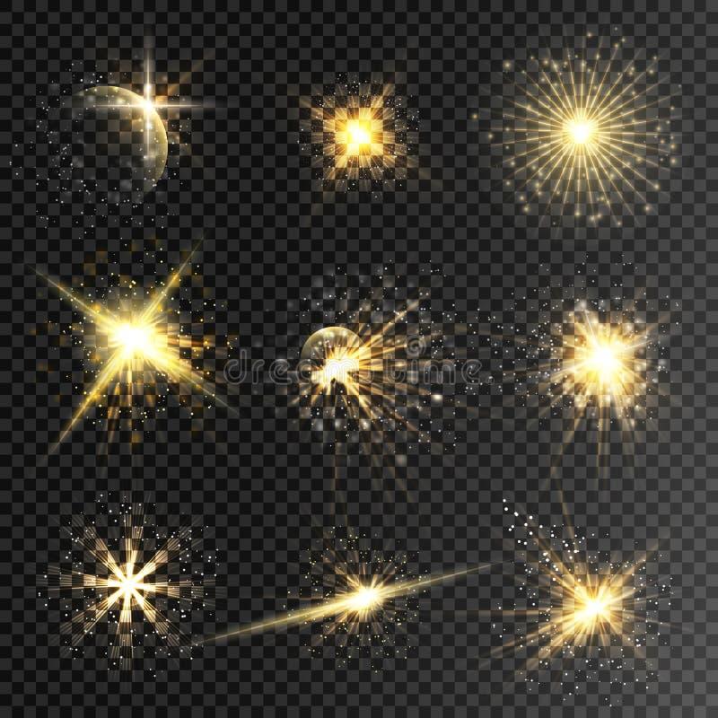 Uppsättningen av glödstjärnor och bristningar för ljus effekt med mousserar I arkivbild