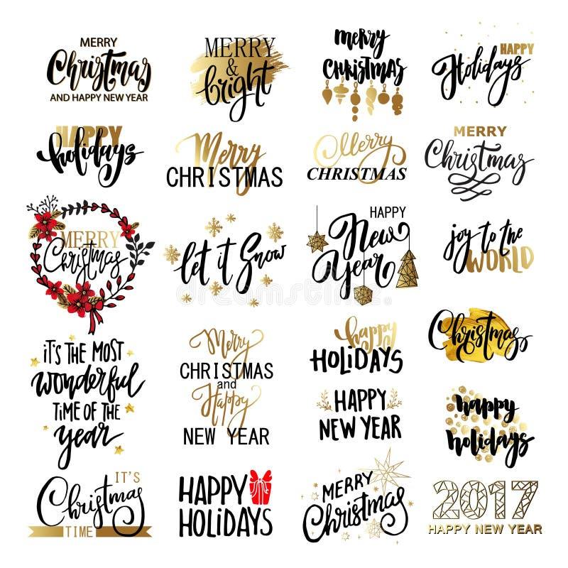 Uppsättningen av glad jul smsar, handen dragen bokstäver och typografidesignen för lyckligt nytt år stock illustrationer