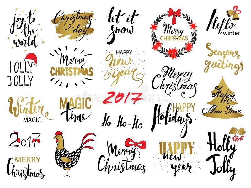 Uppsättningen av glad jul smsar, handen dragen bokstäver och typografidesignen för lyckligt nytt år För kort inbjudningar, affisc royaltyfri illustrationer