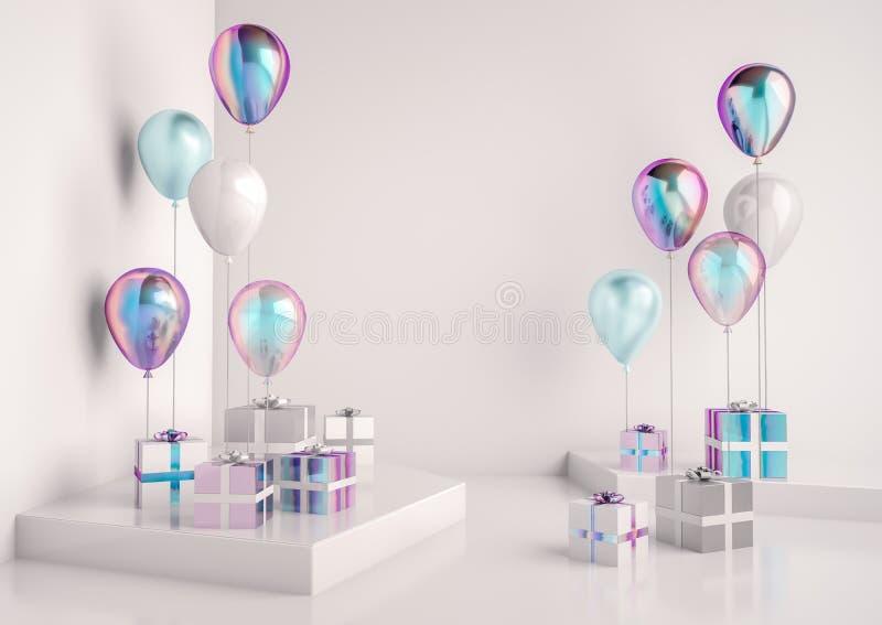 Uppsättningen av glansigt holographic, vit och blått omkullkastar ballons stock illustrationer