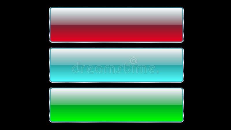 Uppsättningen av glass genomskinlig härlig vektor tre knäppas med en silvrig metallisk ram för klickar, trängande blått, röd grön vektor illustrationer