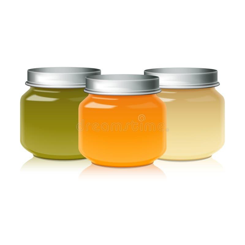 Uppsättningen av Glass krusåtlöje för behandla som ett barn upp matpuré, honung, driftstopp, gelé vektor illustrationer