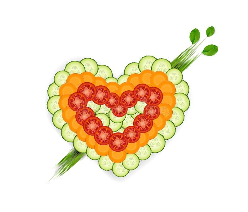 Uppsättningen av grönsaken i hjärtaform, älskar vi grönsaker idén, vektor, oss älskar sund matidé, stock illustrationer