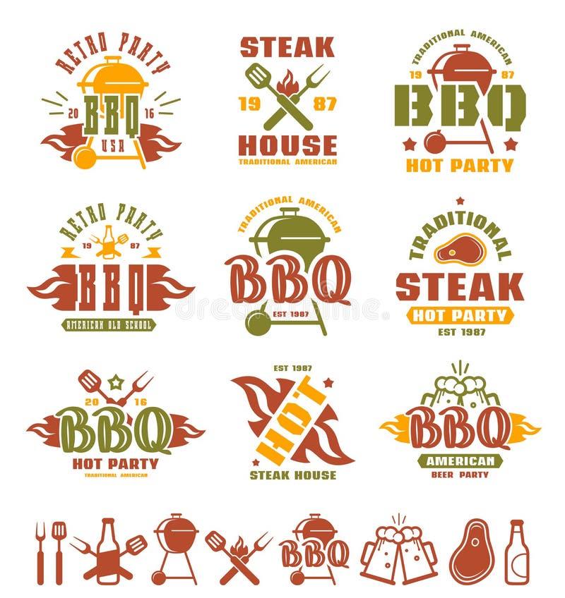 Uppsättningen av grillfesten märker, emblem och designbeståndsdelar vektor illustrationer