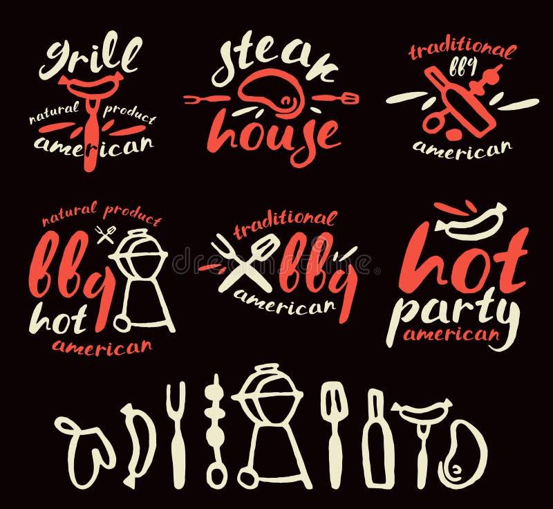 Uppsättningen av grillfesten märker, emblem och designbeståndsdelar stock illustrationer