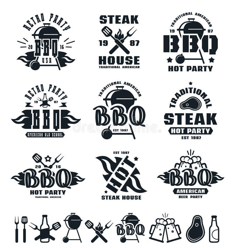 Uppsättningen av grillfesten märker, emblem och designbeståndsdelar royaltyfri illustrationer