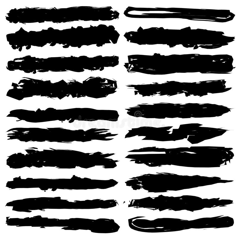 Uppsättningen av grungeborsteslaglängder, svart färgpulver borstar vektor illustrationer