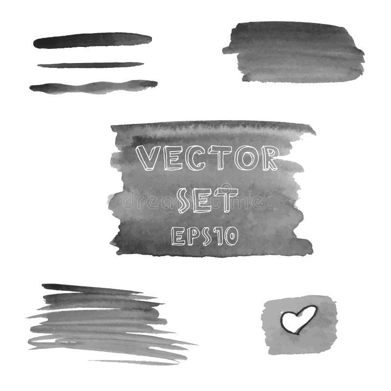 Uppsättningen av grungeskuggor av gråa den målade vattenfärghanden formar Vektorillustration EPS10 stock illustrationer