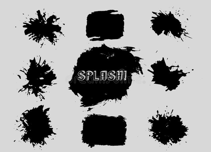 Uppsättningen av grungevektorn formar Abstrakt begrepp formar abstrakt former Storpack Grungekonst retro bakgrund för prydnadpapp stock illustrationer