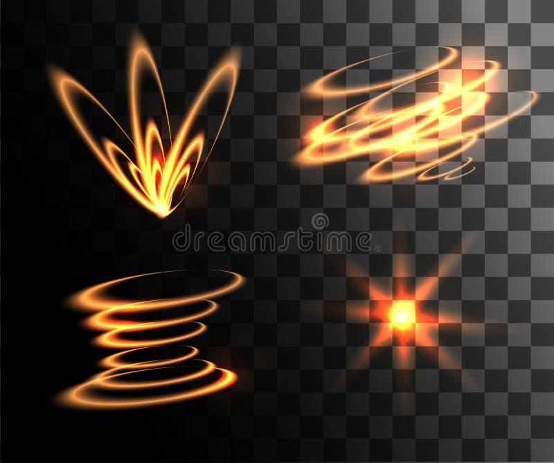 Uppsättningen av guld- glödande ljus för ljusa effekter ringer med partikelgarnering som isoleras på genomskinligt bakgrundswebsi royaltyfri illustrationer