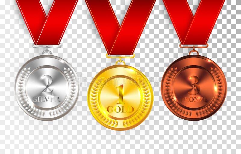Uppsättningen av guld, silver och brons tilldelar medaljer med röda band Rund tom polerad vektorsamling för medalj som isoleras p royaltyfri illustrationer
