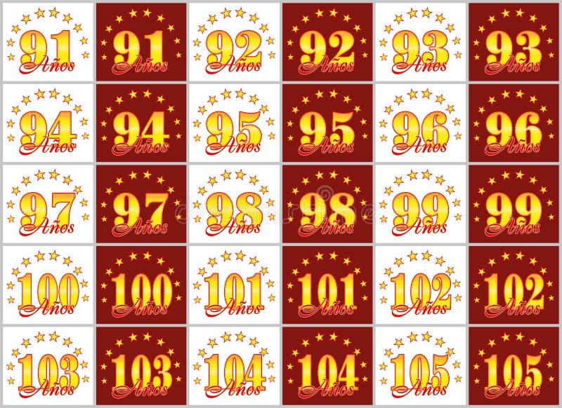 Uppsättningen av guldnummer från 91 till 105 och ordet av året dekorerade med en cirkel av stjärnor också vektor för coreldrawill stock illustrationer