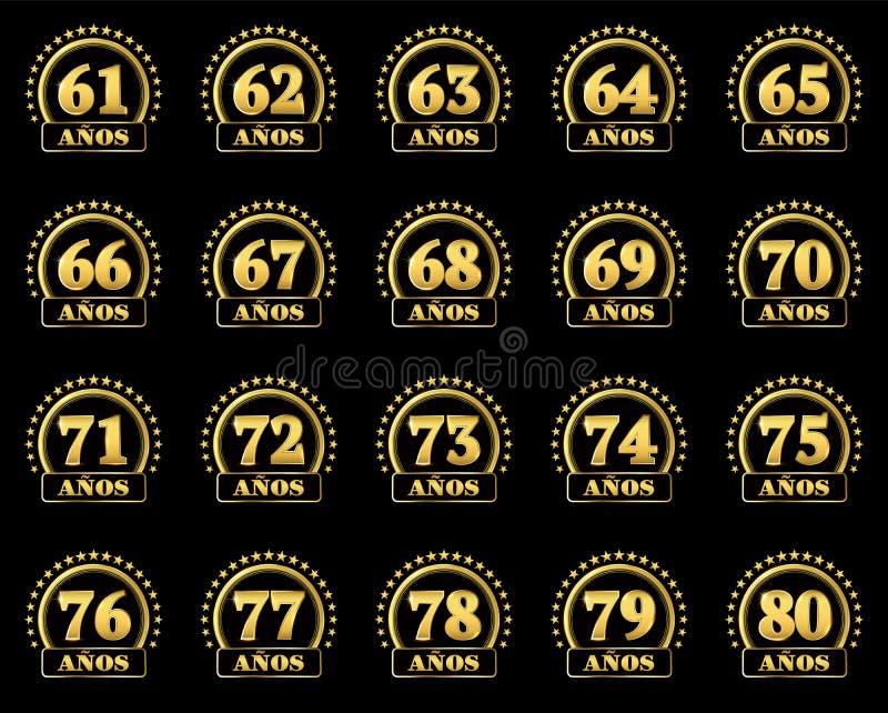Uppsättningen av guldnummer från 61 till 80 och ordet av året dekorerade med en cirkel av stjärnor också vektor för coreldrawillu royaltyfri illustrationer