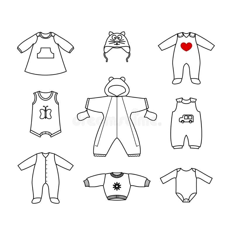 Uppsättningen av gullig kläder för det litet behandla som ett barn Samling av kläder i en linjär stil för det nyfött royaltyfri illustrationer