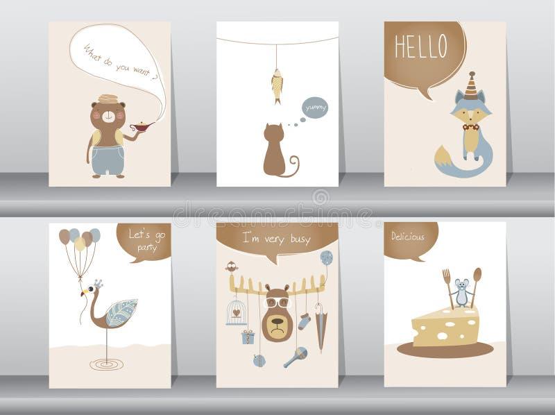 Uppsättningen av gulliga djur affischen, mallen, kort, björnen, katten, vargen, fågel, tjaller, hjortar, zoo, vektorillustratione vektor illustrationer