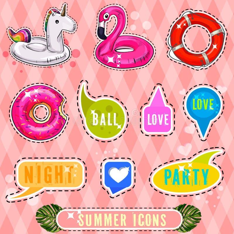 Uppsättningen av gulliga och roliga lappar för symboler för sommarklistermärkeemblem planlägger beståndsdelar vektor illustrationer