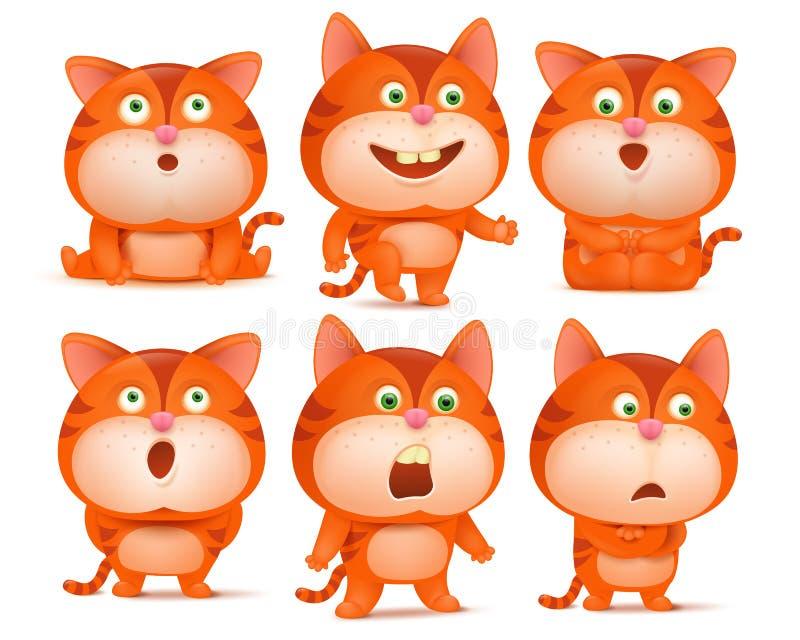 Uppsättningen av gulliga orange katttecknad filmtecken i olikt poserar royaltyfri illustrationer