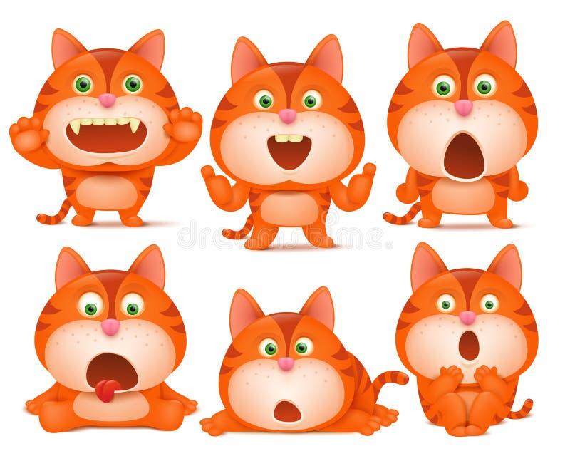 Uppsättningen av gulliga orange katttecknad filmtecken i olikt poserar vektor illustrationer