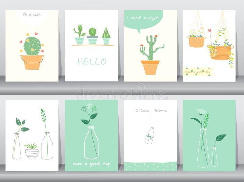 Uppsättningen av gulligt växer växter affischen, mallen, hälsningkort, vektorillustrationer vektor illustrationer