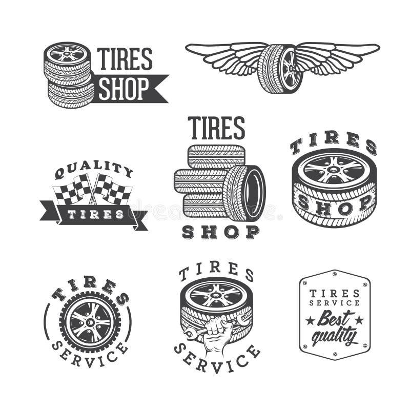 Uppsättningen av gummihjul shoppar och tjänste- emblem, vektordesignbeståndsdelar stock illustrationer