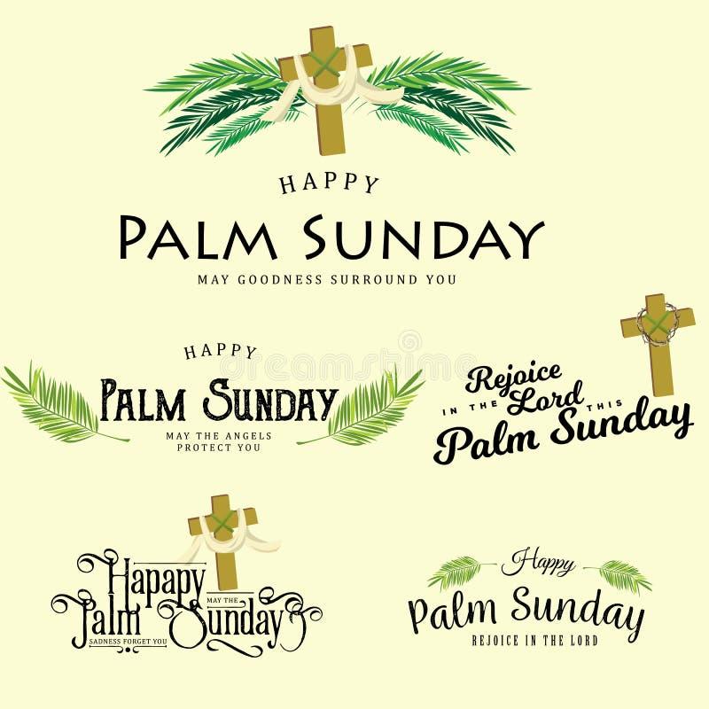 Uppsättningen av hälsninglogoer för religionferie gömma i handflatan söndag för easter, kort för berömingång av Jesus in i stock illustrationer