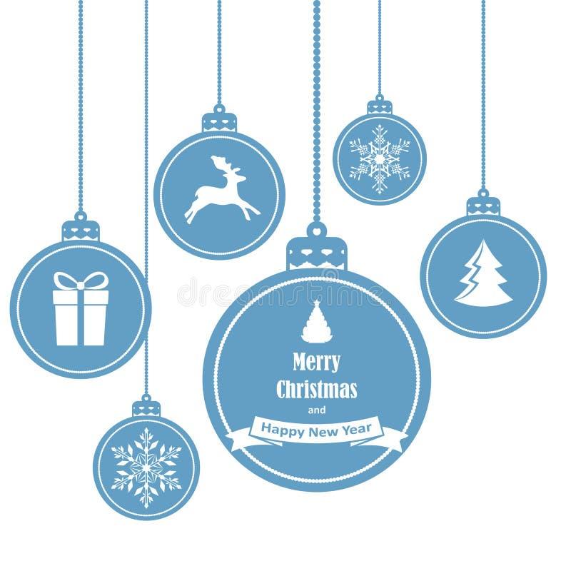 Uppsättningen av hängande jul för blått klumpa ihop sig med symboler liksom snöflingan, ren, gåvan och julgranen stock illustrationer