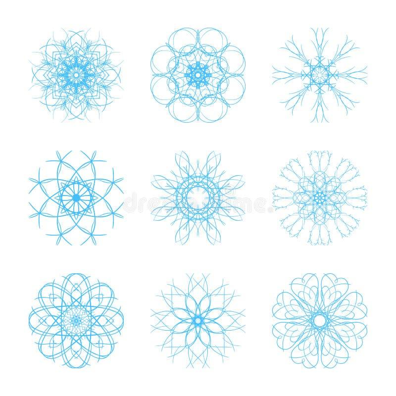 Uppsättningen av härlig original- snöflinga nio för vinter för jul och för nytt år planlägger stock illustrationer