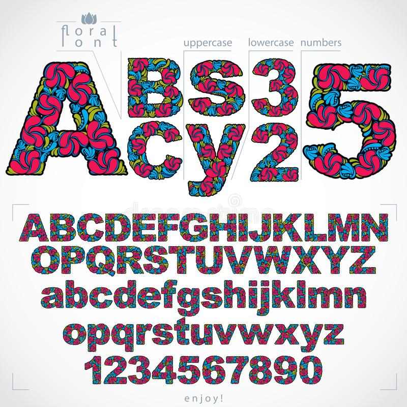 Uppsättningen av härliga bokstäver och nummer dekorerade med växt- ornam stock illustrationer